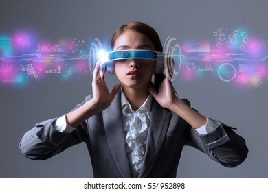 woman wearing smart glasses and various information visions