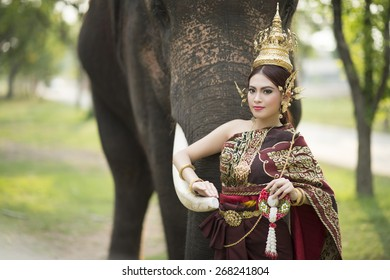 woman wearing typical thai dress with thai style