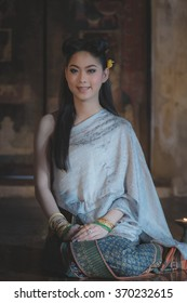 Woman wearing typical thai dress with thai identity culture of Thailand