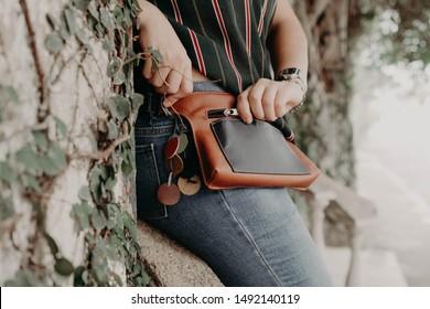 Woman wearing a waist bag