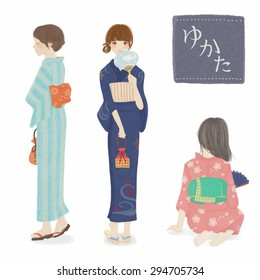 Woman wearing a yukata.