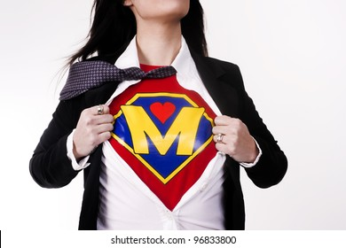 Woman wears a superhero style t-shirt under her business suit Modern Mom Mother Super Parent Character
