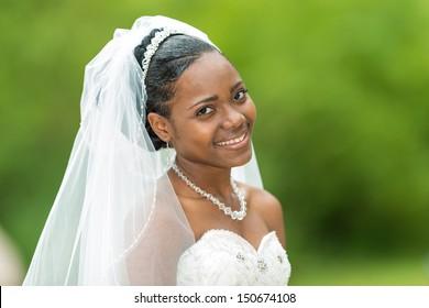 Woman in wedding gown, outside portrait