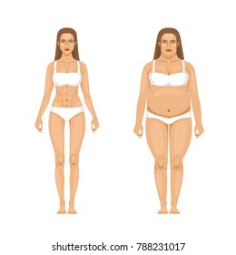Woman weight loss with sport and diet. illustrations in cartoon style. Woman body transformation, overweight and thin
