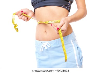 Woman weist with tape, weight loss