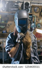 woman with welding mask