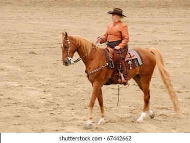 Woman in western clothing riding an American Saddlebred horse in Western Tack