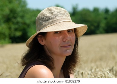 woman and wheat background
