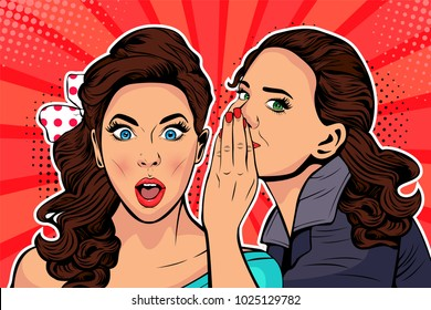 Woman whispering gossip or secret to her friend. Colorful illustration in pop art retro comic style.