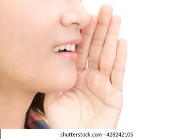 Woman whispering message isolated on white background