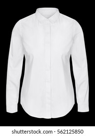 Woman white business shirt on invisible mannequin isolated on black