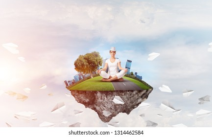 Woman in white clothing keeping eyes closed and looking concentrated while meditating on island in the air among flying paper planes with cloudy skyscape on background. 3D rendering.