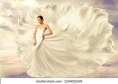 Woman White Dress, Fashion Model in Long Silk Waving Gown, Flying Fluttering Fabric on Wind