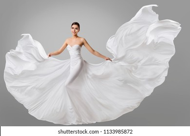 Woman White Dress, Wedding Fashion Model in Long Silk Bride Gown, Waving Flying Fabric, Cloth Fluttering on Wind