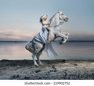 Woman with a white horse