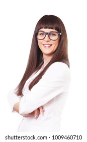 Woman in a white lab coat and glasses, isolated on white background