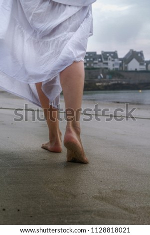 0cf3cdd9a Woman White Long Dress Walking Along Stock Photo (Edit Now ...