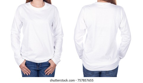 woman in white long sleeve t-shirt isolated on a white background