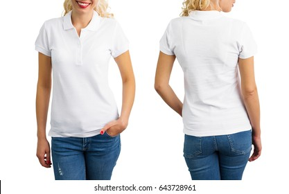 Woman in white polo shirt, front and back