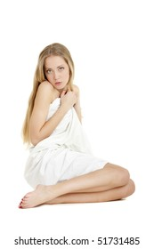 woman with white Sheet, isolated over white