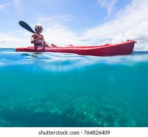 Woman in white swimwear on kayak explore blue sea. Split photo. Selective focus.