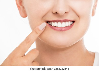 Woman with white teeth and beautiful smile