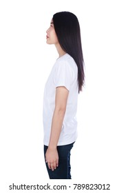 woman in white t-shirt isolated on a white background (side view)