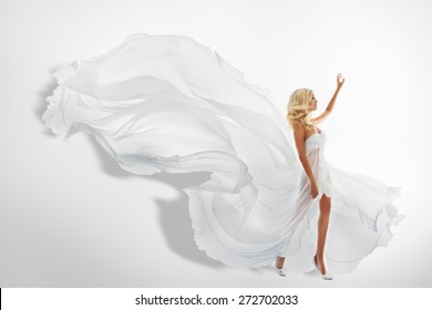Woman White Waving Dress, Showing Hand Up, Flying Fabric, Silk Cloth Flowing on wind