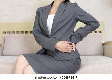 Woman who has a stomachache