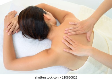 The woman who receives body massage
