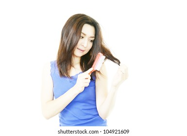 Woman who is worried about hair