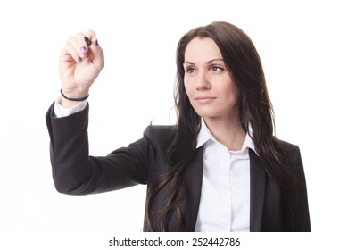 A woman who write something with is hand on organigram