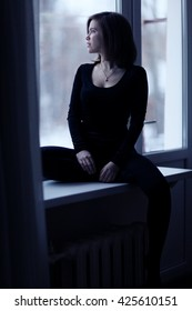 woman window Depression