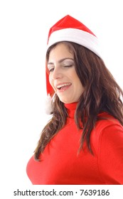 Woman winking in Santa hat angle