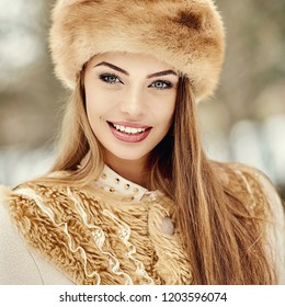 Woman in winter hat - close up