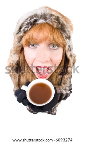 f556296f65bf Woman Winterclothing Holding Hot Cup Tea Stock Photo (Edit Now ...