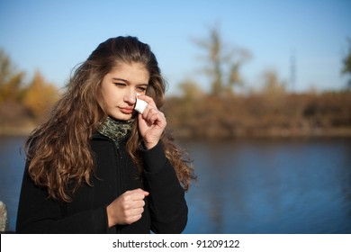 woman wiped tears with handkerchief