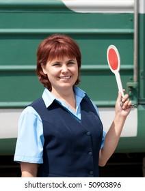 Woman worker railroad. Train.