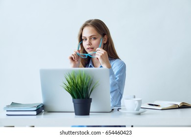 Woman working, business woman working behind laptop