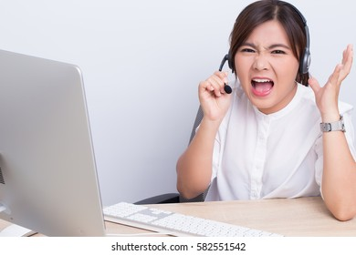 Woman working in call center she feel angry
