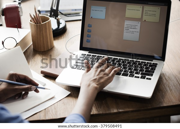 Woman Working Design Notepad Concept