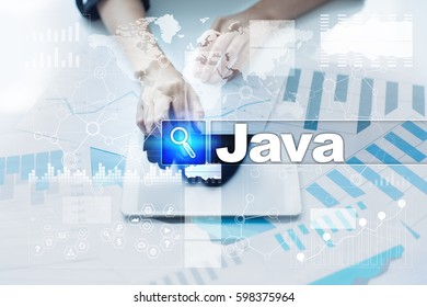 Woman working with documents, tablet pc and selecting java .
