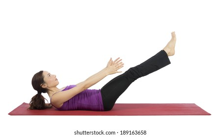 Woman working her abs during fitness.