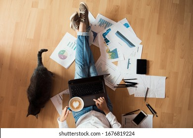 woman working from home - top view