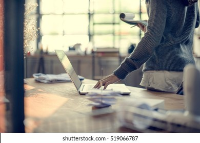 Woman Working Laptop Technology Workplace Concept