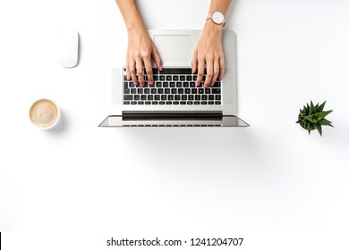 Woman working in modern office. Top view