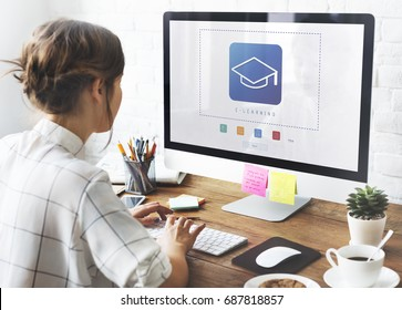 Woman working on computer network graphic Overlay