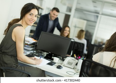 Woman working on the computer in the office