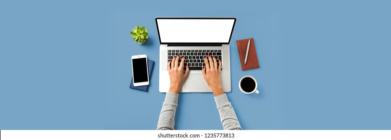 Woman working on laptop. Close up