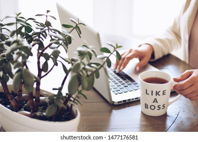 Woman is working on a laptop computer with a cup of tea that says LIKE A BOSS
